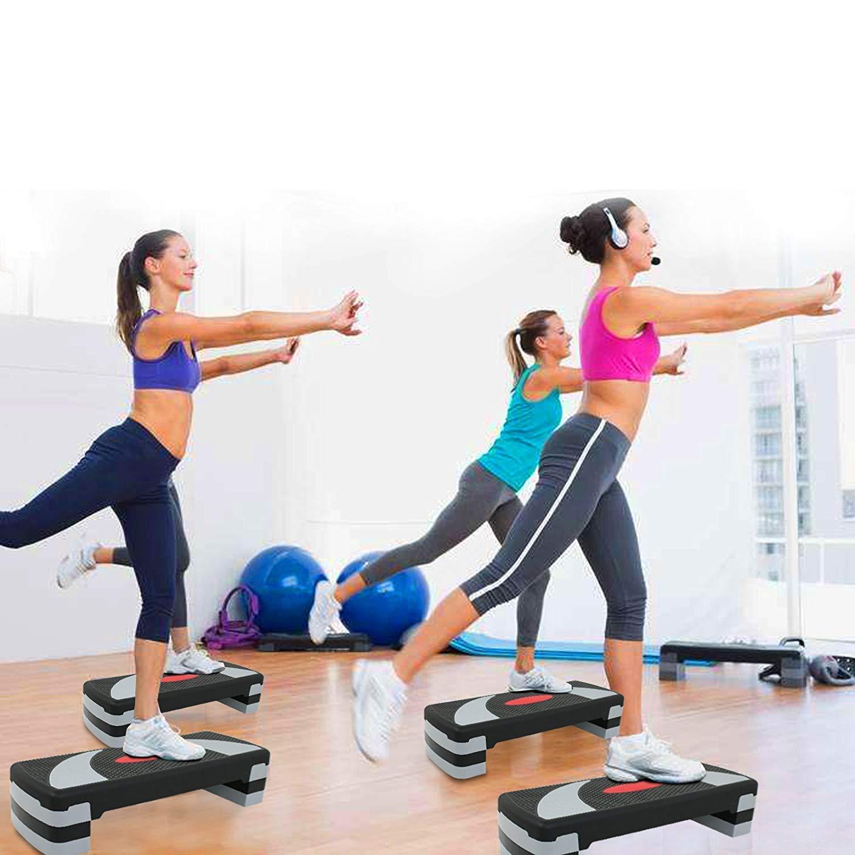 HomGarden 31'' Adjustable Workout Aerobic Stepper in Fitness & Exercise Step Platform Trainer Stepper w/Risers Adjust 4'' - 6'' - 8'' (Set of 1)