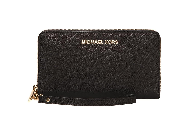 aba89a5d3c75 Amazon.com: Michael Kors Jet Set Large Smartphone Wristlet Wallet in Black:  Clothing