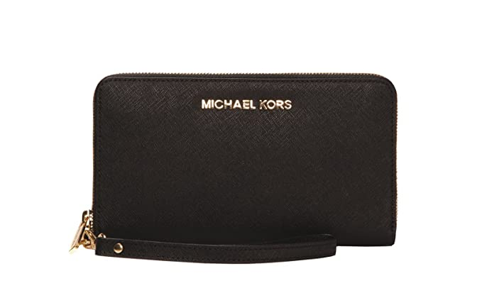03f81a1e3594 Image Unavailable. Image not available for. Color: Michael Kors Jet Set  Large Smartphone Wristlet Wallet in Black