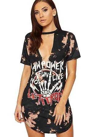 814aa932ad WearAll Women's Choker Plunge T-Shirt Dress Top Ladies Tie Dye Graphic  Slogan Print New