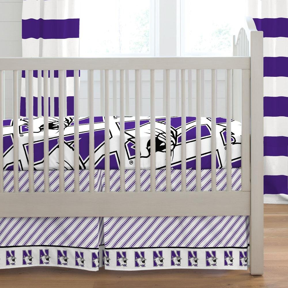 Carousel Designs Northwestern Crib Skirt Box Pleat 20-Inch Length