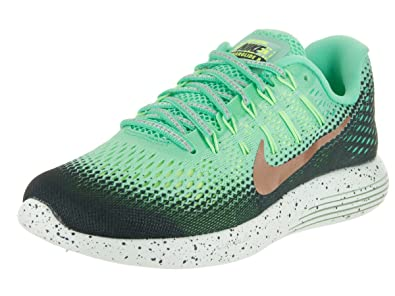 check out f2318 2b756 Nike Women s Wmns Lunarglide 8 Shield, GREEN GLOW MTLC RED BRONZE-HASTA,
