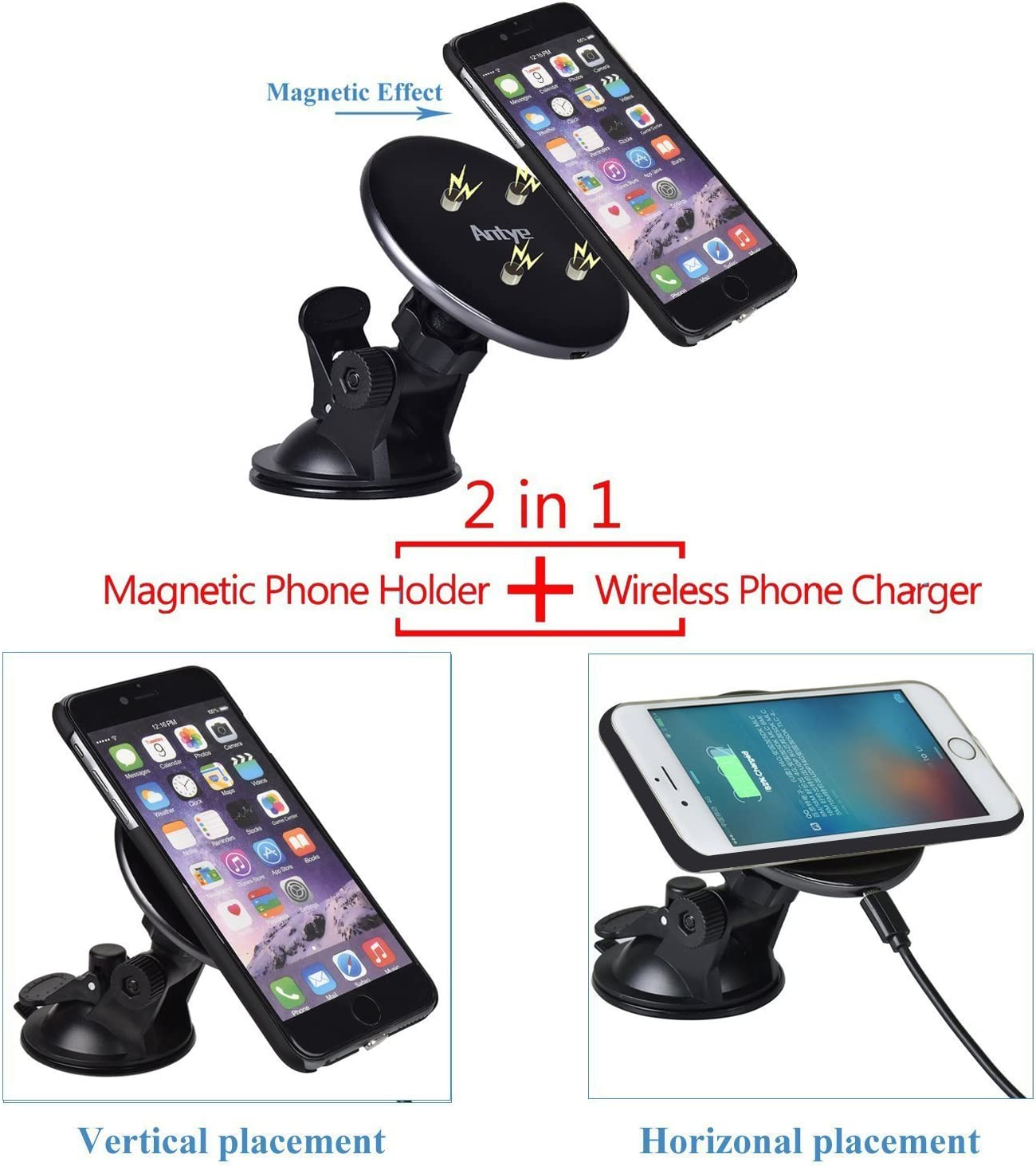 Qi Wireless Charging Dock Cradle and Wireless Charging Receiver Case for iPhone 7 Plus 2-in-1 Antye Magnetic Wireless Car Charger /& Air Vent Mount Holder for iPhone 7 Plus, Black