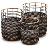 Set of 3 Strong Round Handmade Accent Storage Bin Baskets- Organic Hyacinth– Luxury Woven Decor For Living, Bedrooms, Pools,Closets and Kids Room- Ideal For Towels, Laundry, Toys and Magazines