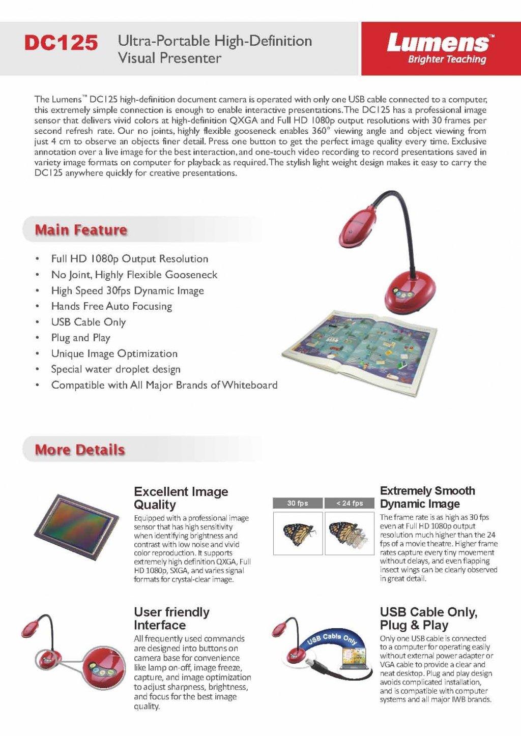 Amazon com: Lumens DC125 Ladibug USB Document Camera, Full