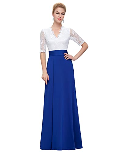 GRACE KARIN® Women's V-neck Lace Half Sleeve Long Split Evening Formal Dresses