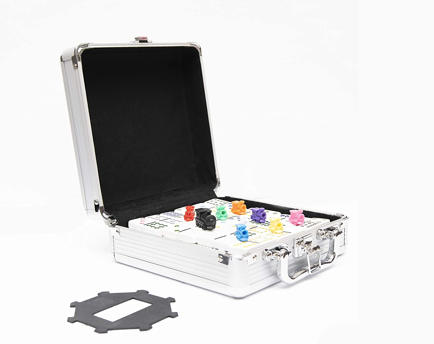 Mexican Train Dominoes Game Set with Aluminum Case Double 12 Effect Train Dominoes Set Big for Kids Garge Toard Mexican Trains Original Pieces Toy Kit Classic Travel Case Set Bundle E Book by STSSLTD