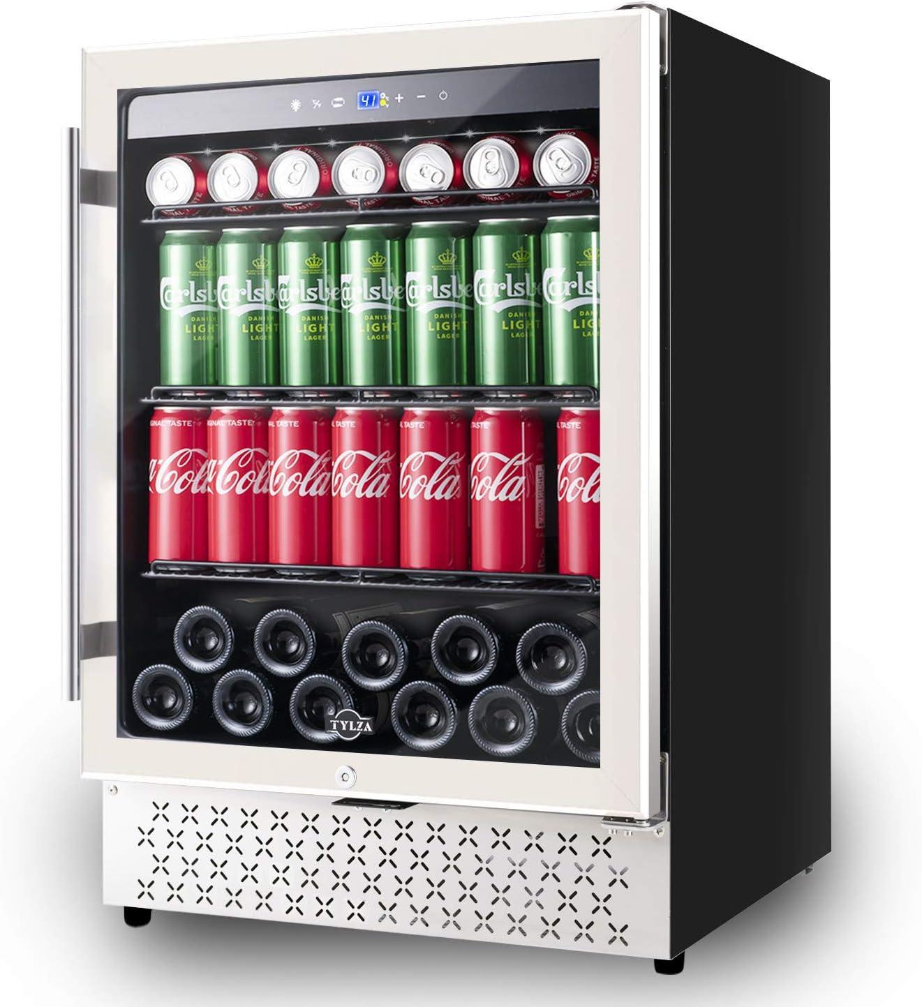 Beverage Refrigerator 24 Inch, 190 Can Built-in or Freestanding Beverage Cooler, Mini Fridge with Glass Door Drink Beer Fridge for Beer, Soda or Wine, LOW NOISE, 37-64℉