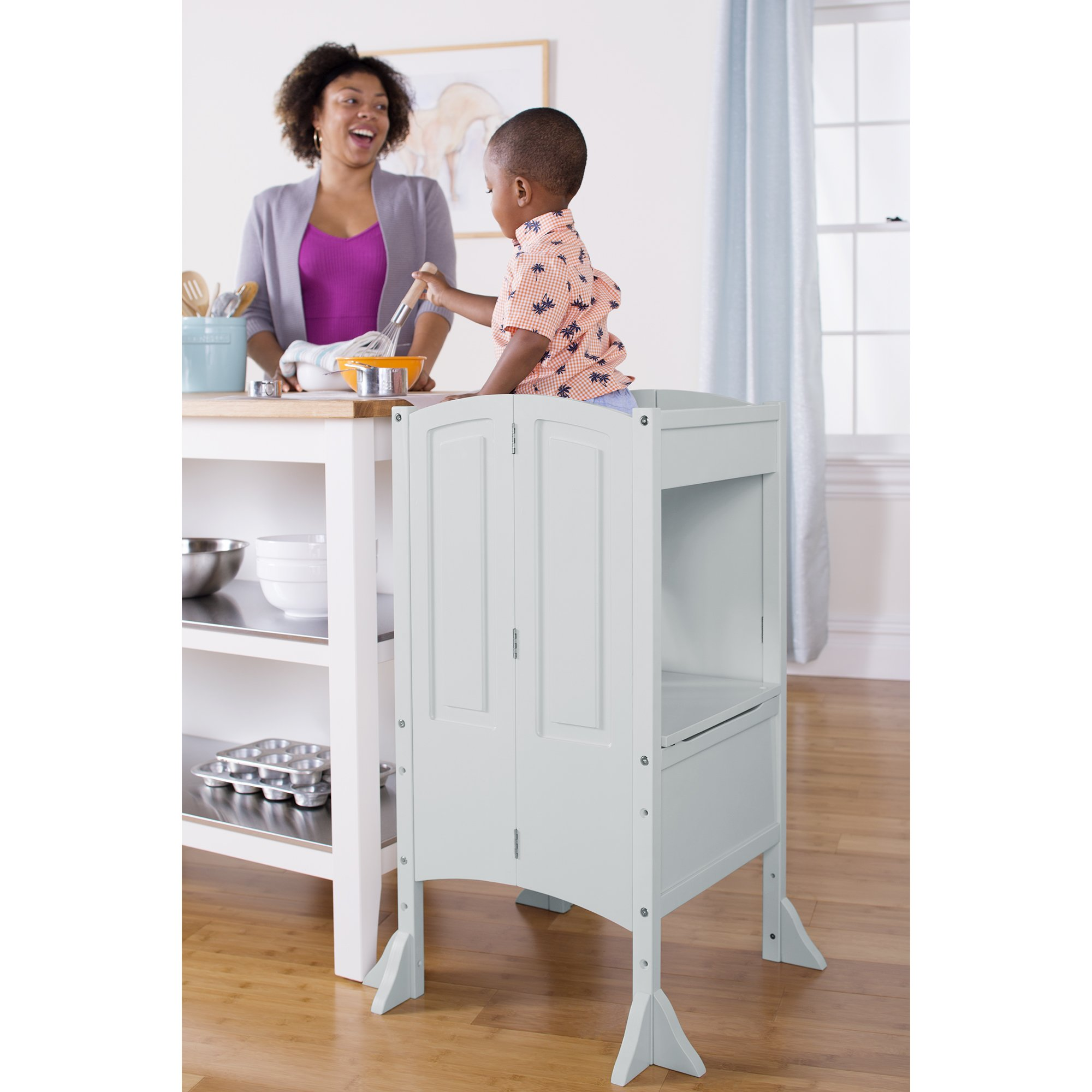 Guidecraft Heartwood Kitchen Helper Stool - Gray W/Keeper and Non-Slip Mat: Adjustable Counter Height Step Up, Folding Safety Cooking Step Stool for Toddlers - Little Kids Learning Furniture by Guidecraft