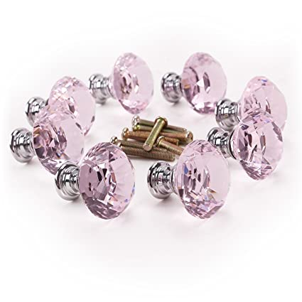 8pcs Pomo de Cristal Vidrio Rosa Transparente Tiradores para Puertas Cajones Manilla 30mm de Diamante