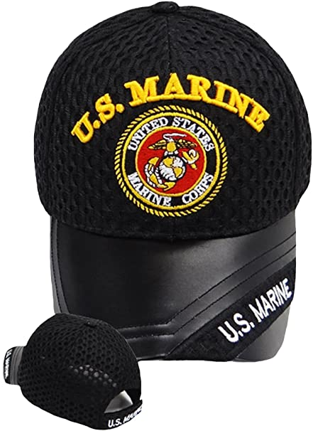 a900e95976ec2 Buy Caps and Hats U.S. Marine Baseball Cap Black Leather Bill and Marine  Corp Logo Emblem