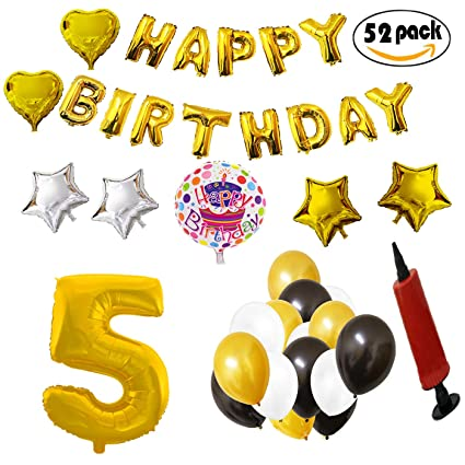COTIGO - Globos Cumpleaños Happy Birthday #5 Color Dorado, Año 5