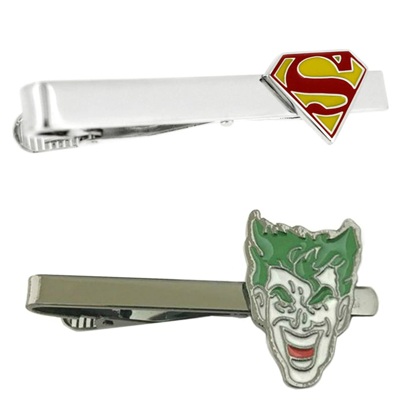 DC Comics - Superman & Joker - Tiebar Tie Clasp Set of 2 Gift Set Wedding Superhero Logo Novelty Jewelry Series w/Gift Box