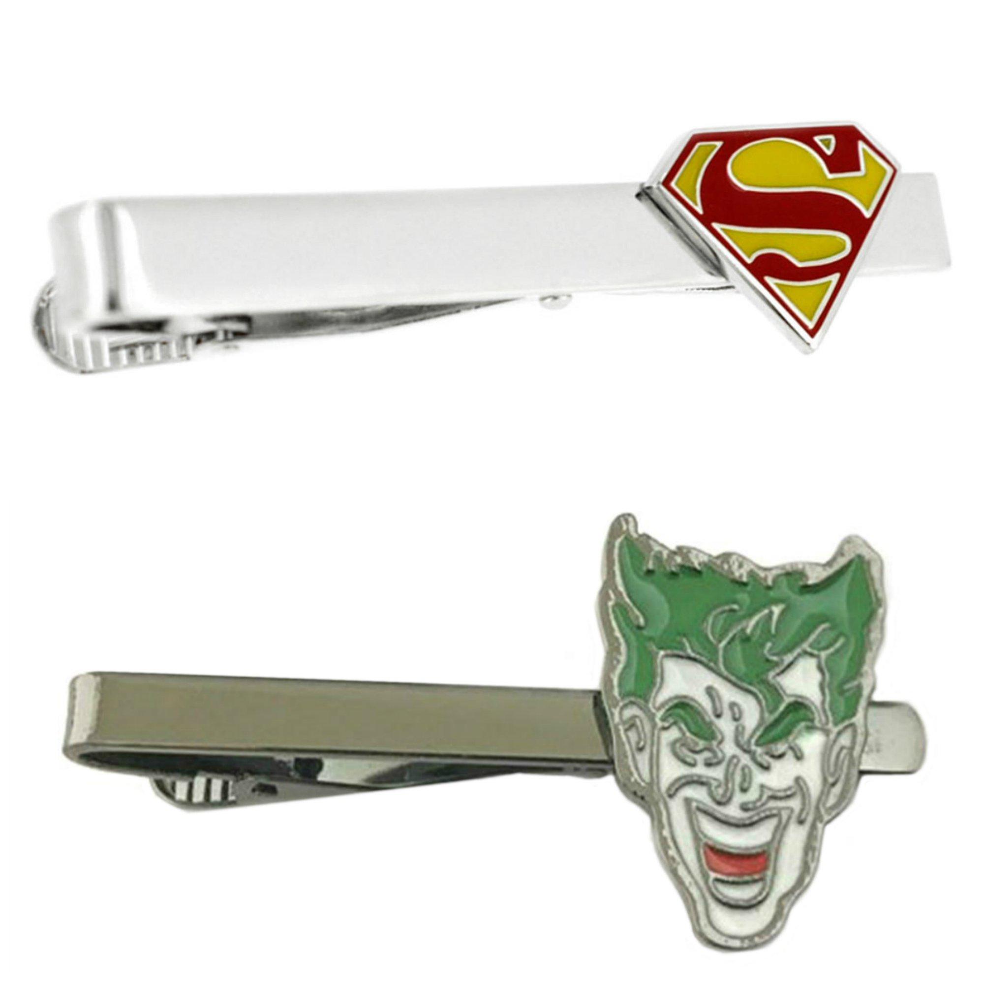 Outlander DC Comics - Superman & Joker - Tiebar Tie Clasp Set of 2 Wedding Superhero Logo w/Gift Box