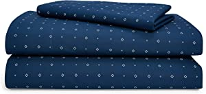 Chaps Home SHELBOURNE Diamond 60% Cotton/40% Poly Printed Sheets-200 Thread Count Bed Sheet Set-15 Inches Deep Pocket (California, Cal King, Navy