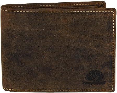 Greenburry Geldbörse Reißverschluss Herrenbörse 9 Kartenfächer Vintage braun