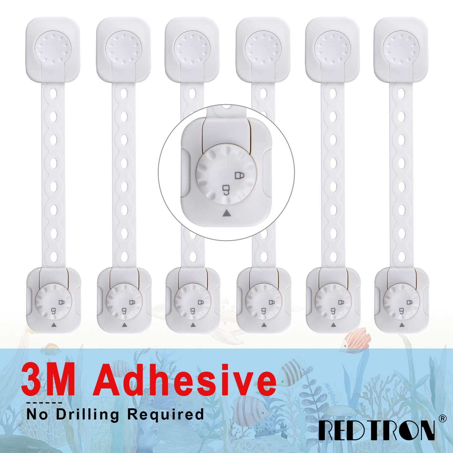 Child Proof Safety Locks[Upgraded], 6 Pack Baby Proof Cabinet Locks with Adjustable Strap/3M Adhesive, Baby Proof Double Lock System for Cabinets, Drawers, Oven, Fridge, Toilet Seat [No Drilling Neede