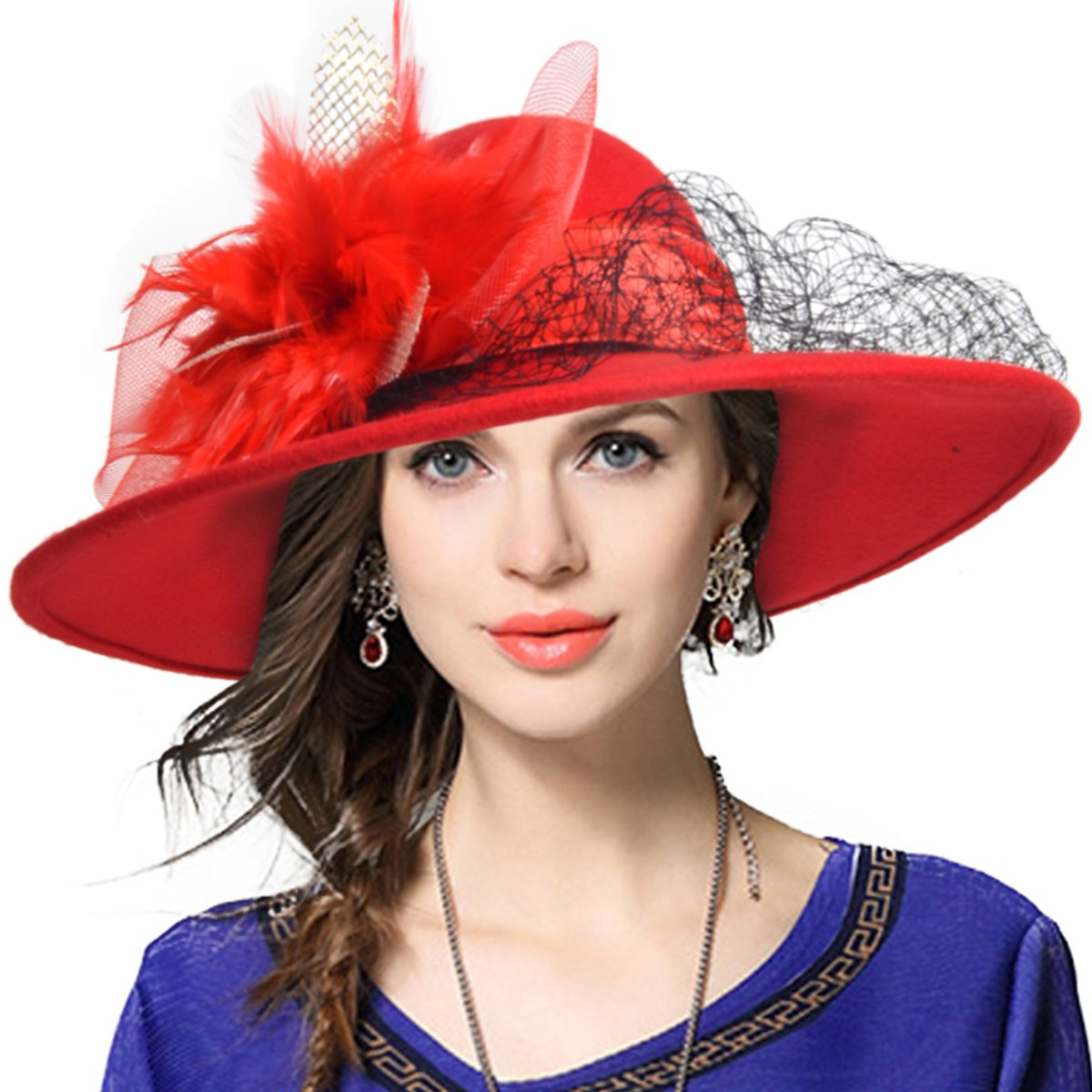 a5d54bd68a VECRY Women's Fascinator Wool Felt Hat Cocktail Party Wedding Fedora Hats