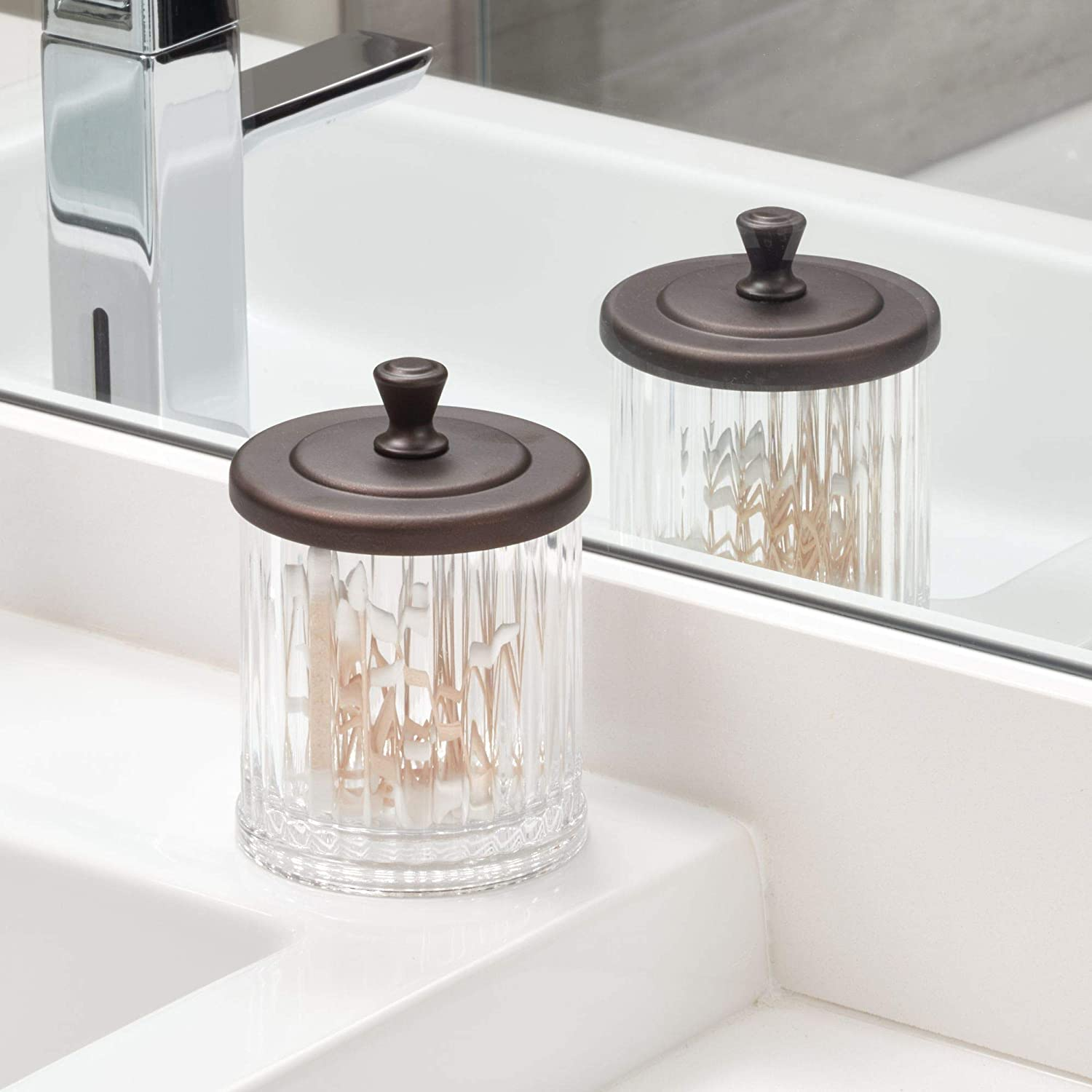 Holds Makeup Q-Tips Hair Supplies and More Set of 2 Small 02076M2 InterDesign Alston Bathroom Canister with Lid