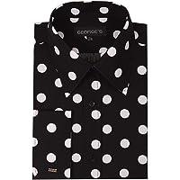George's Men's 100% Polka Dot Shirt 17-17 1/2 34-35 Black