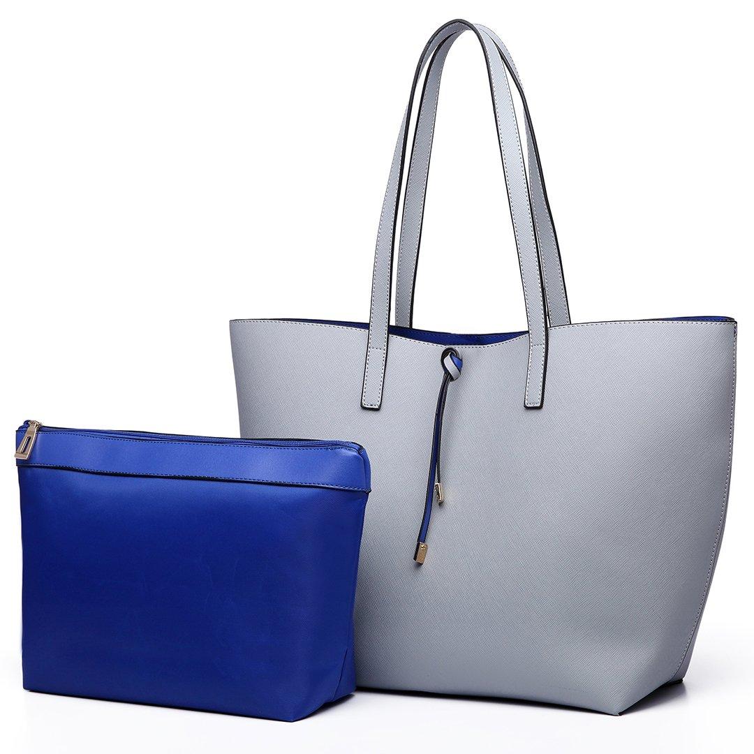 Miss Lulu Women Reversible Hobo Bag Faux Leather Shoulder Handbag with Liner Pouch Bag (Grey)