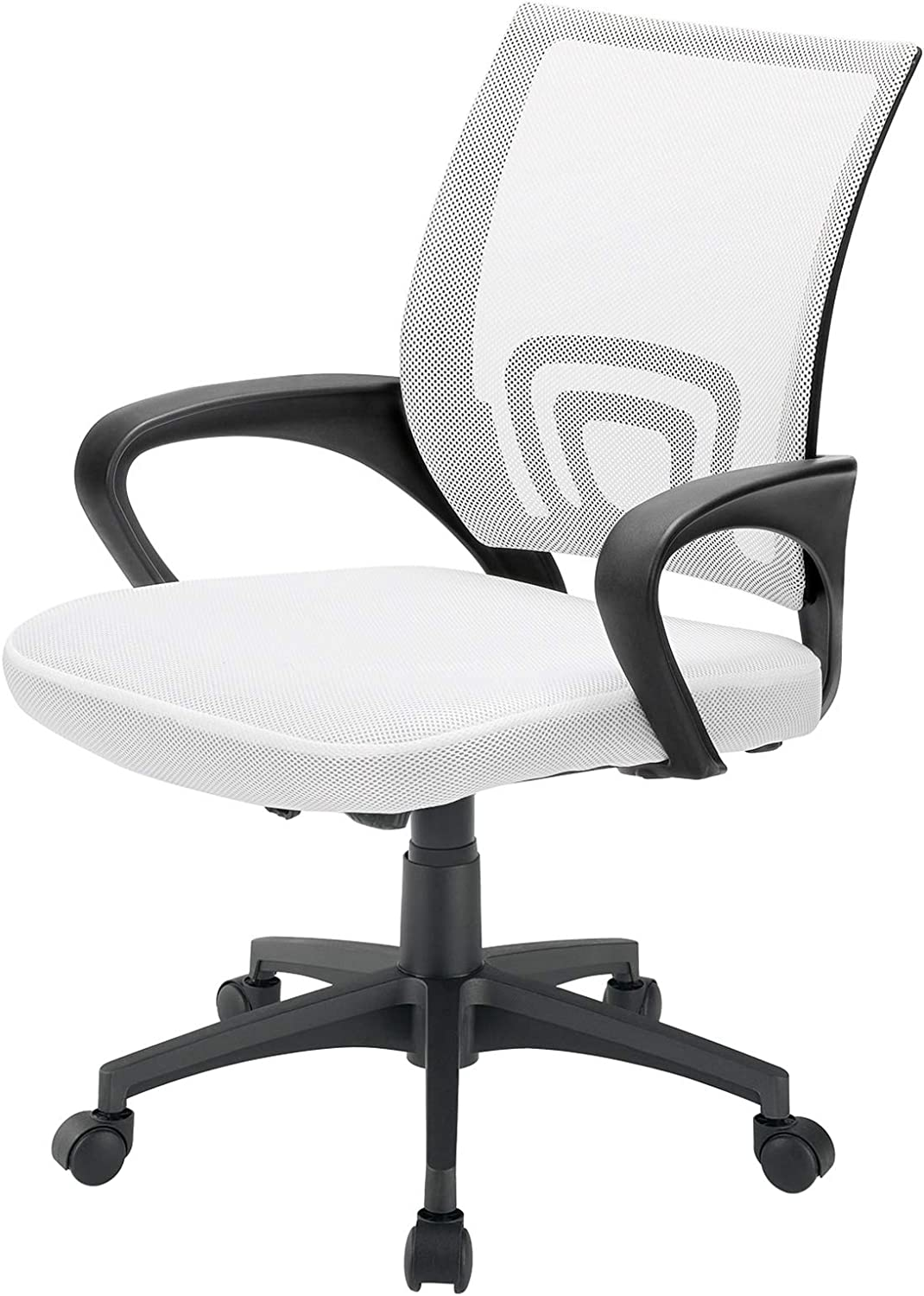 BOSSIN Office Chair Mesh Desk Chair Ergonomic Computer Chair with Lumbar Support Modern Executive Adjustable Chair Rolling Swivel Chairs for Women Men,Black (White)