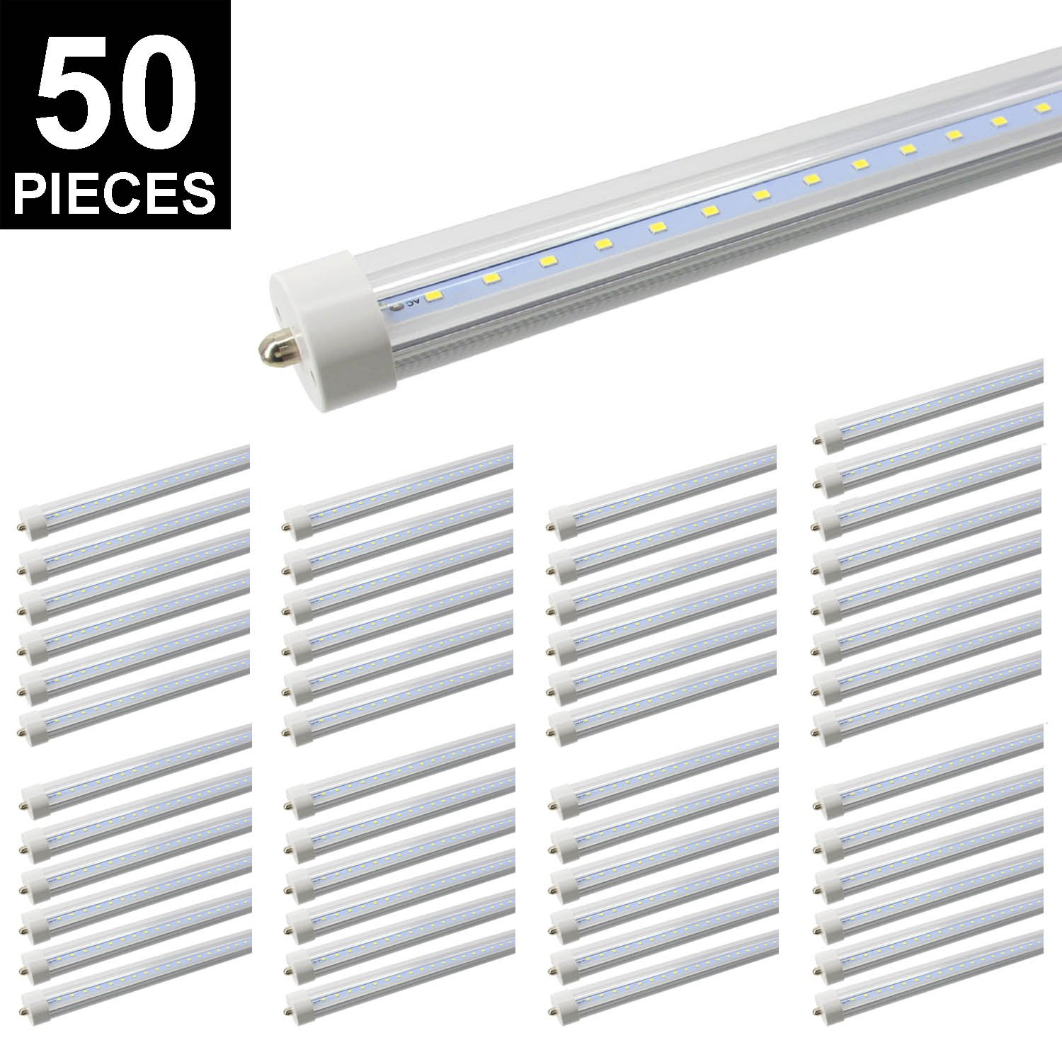 CNSUNWAY LIGHTING 8ft LED Tube, 96'' 45Watt T8 FA8 Single Pin LED Bulbs With Clean Cover, 4800LM Super Bright 6000K Cool White (50)