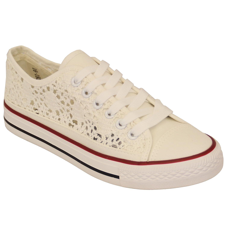 Scarpe sportive donna DONNA BASSE SKATE FUNKY Pizzo uncinetto floreale Scarpe con tacchi in tela scarpe - Bianco - 16193, 4 UK