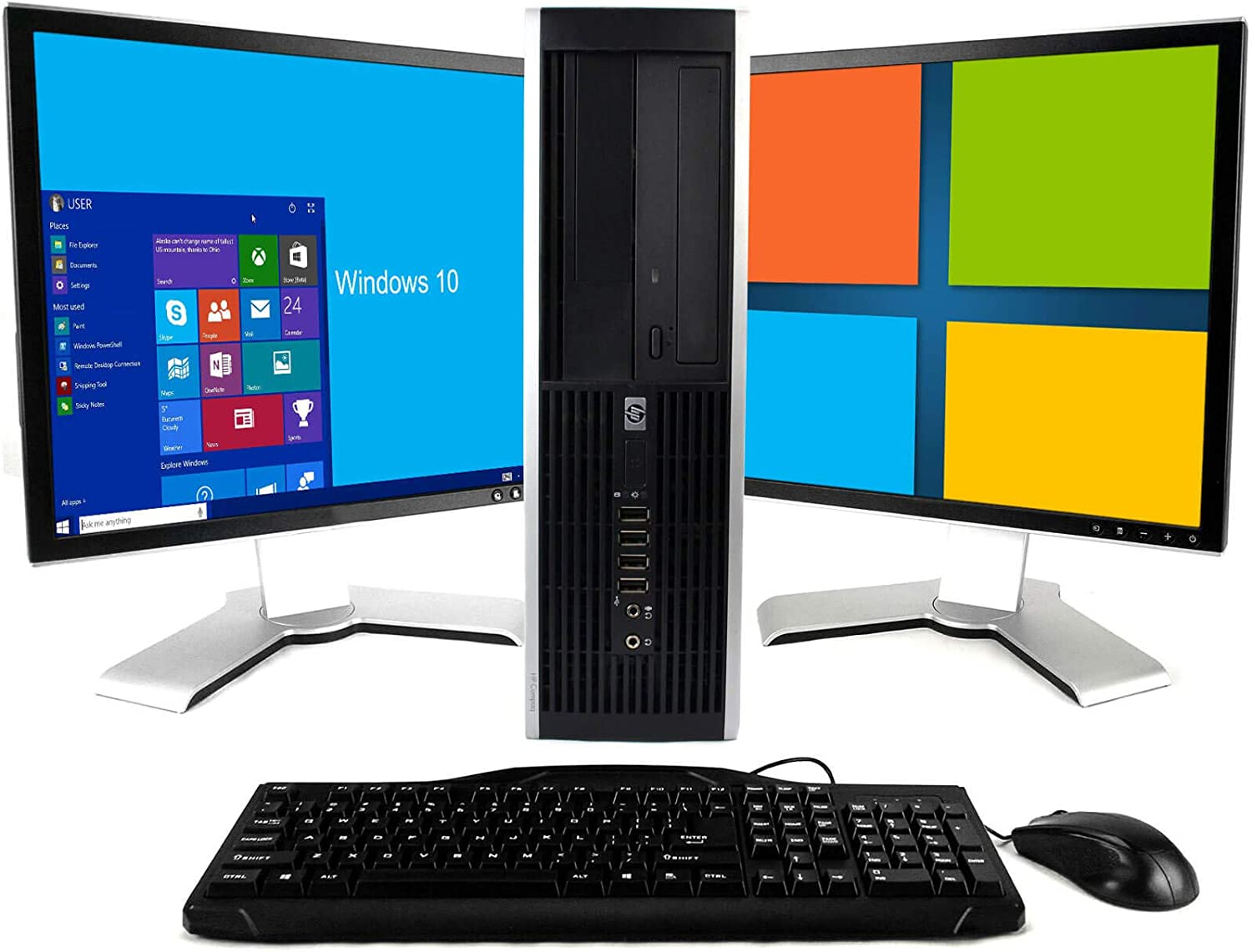 HP Elite Windows 10 Home Desktop Computer 250GB Dual 19 LCD Monitor - (Brands will vary)