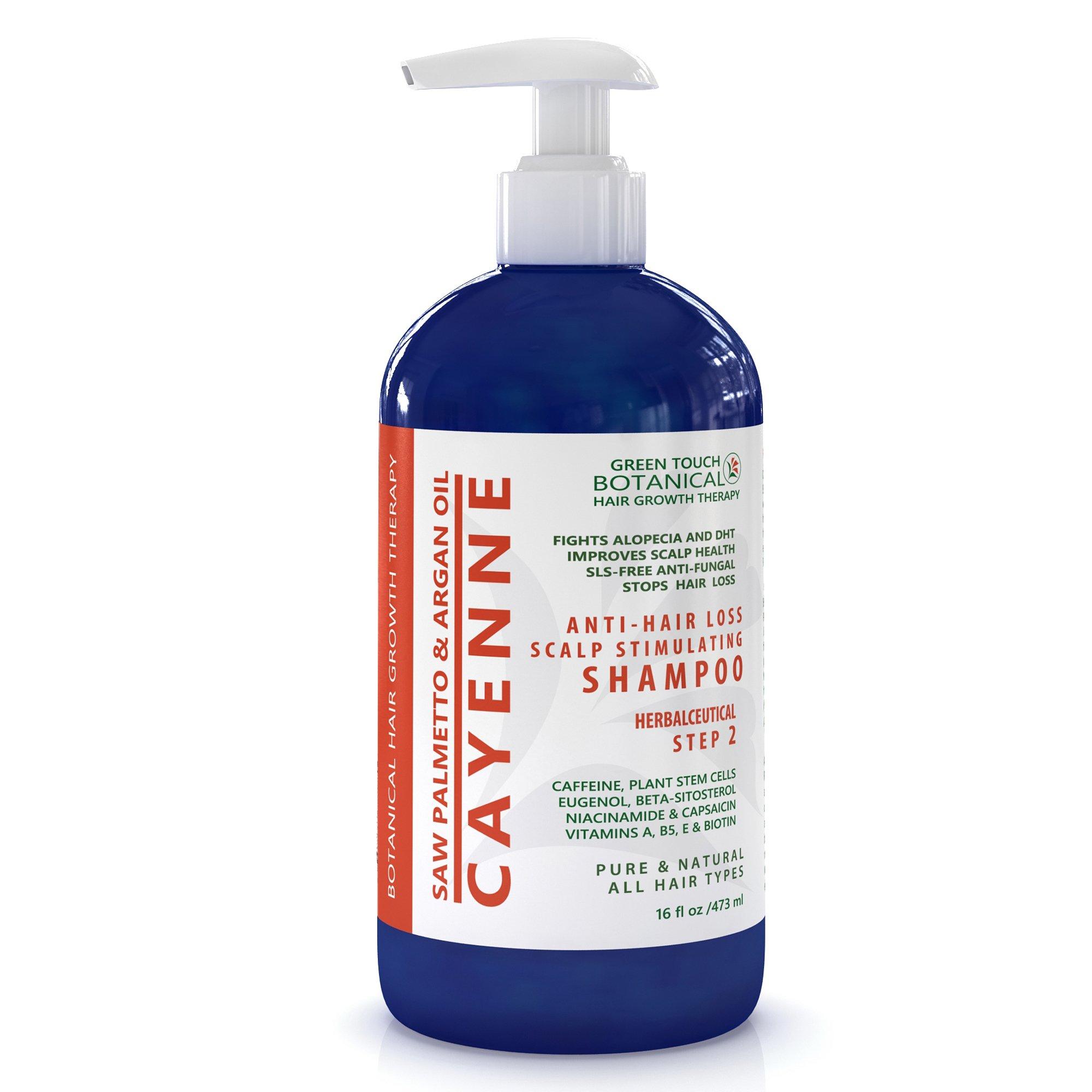 STEP 2 Organic Anti Hair Loss Shampoo Cayenne /Saw Palmetto & Argan Oil 16 Oz Green Touch Botanical Hair Growth Therapy …