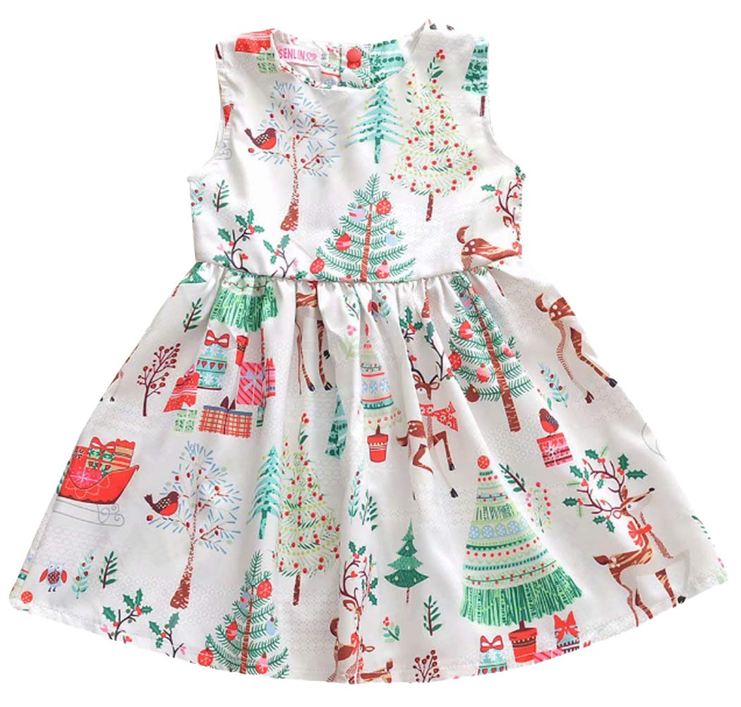 MOUSY Kid Baby Girls Christmas Deer Patterns Sleeveless Skirt Dress Clothing