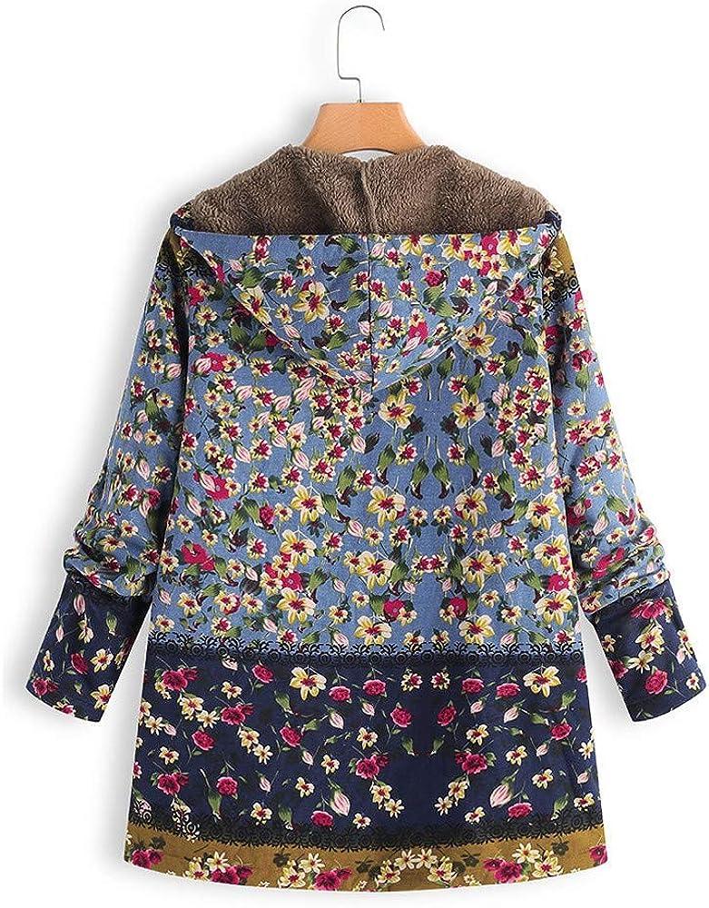 POLPqeD Cappotto Donna Inverno Caldo Giacche Outwear Felpa con Cappuccio Floreale Stampa Tasche Vintage Cappotti Oversize