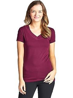 ffde8024b52 Amazon.com  Emmalise Women s Plain Short Sleeve T-Shirt V-Neck Top ...