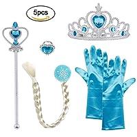 Vicloon 5Pcs Princesse des neiges - Diadème/Gants/Baguette magique/Tresse - 2-9 ans - Bleu