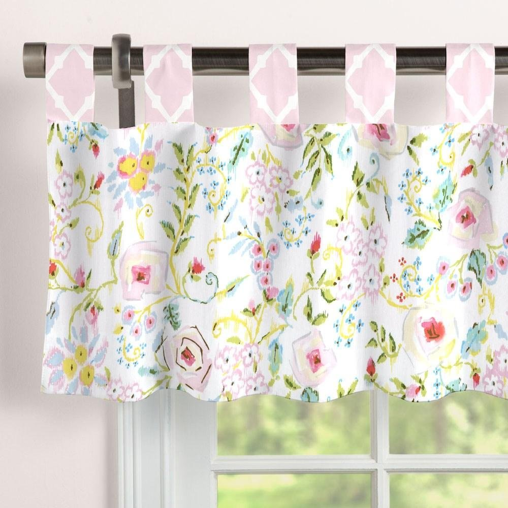 Carousel Designs Pink and Gray Primrose Window Valance Tab-Top by Carousel Designs