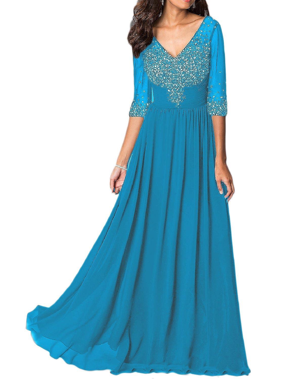PromCC Womens 1//2 Sleeve Beaded Chiffon Evening Dress Formal Wedding Gowns PEV134