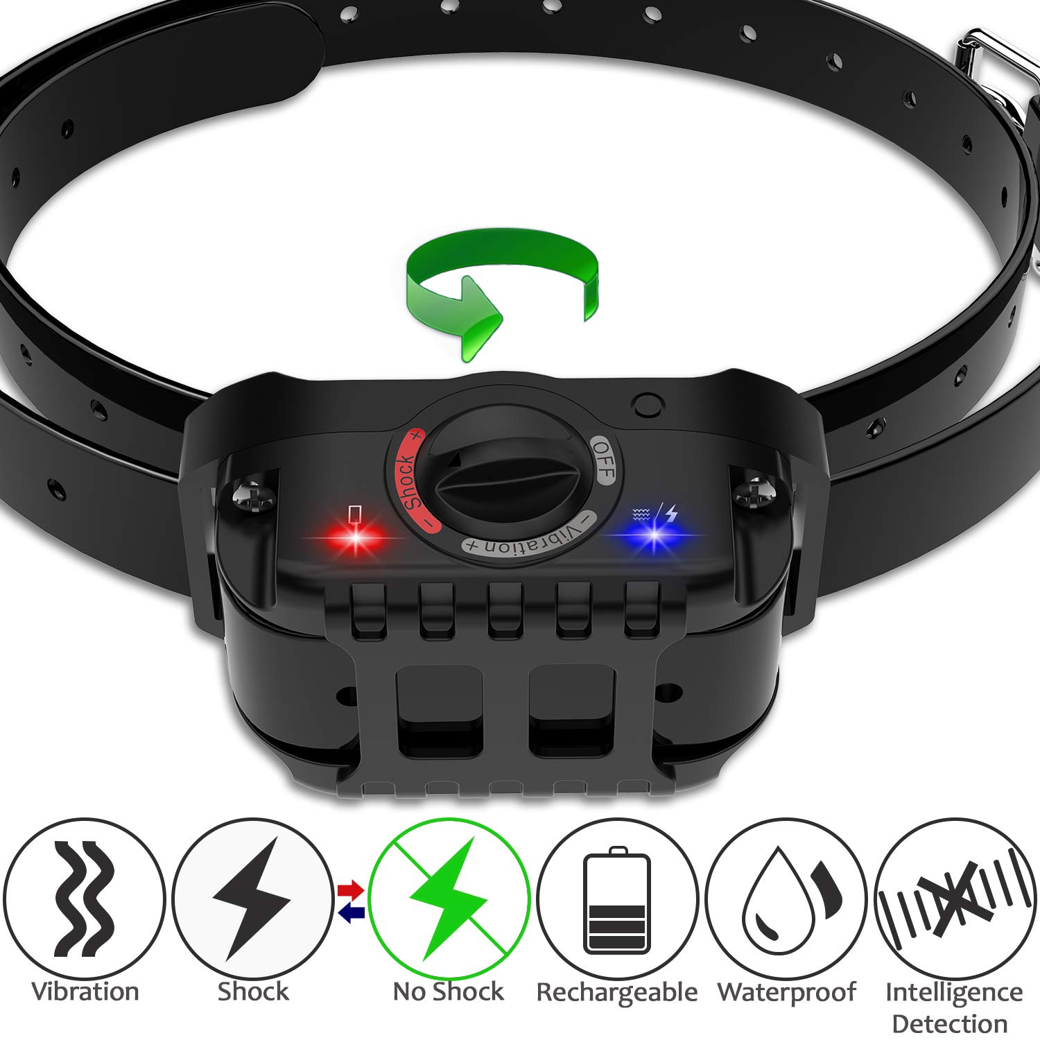 PetFere Dog Bark Collar, Bark Collar Shock Collar, IP67 Waterproof Rechargeable Bark Collar Large Dog with Smart Detected Chip S/M/L Dogs-Stop Barking Safe (15-100LBS)