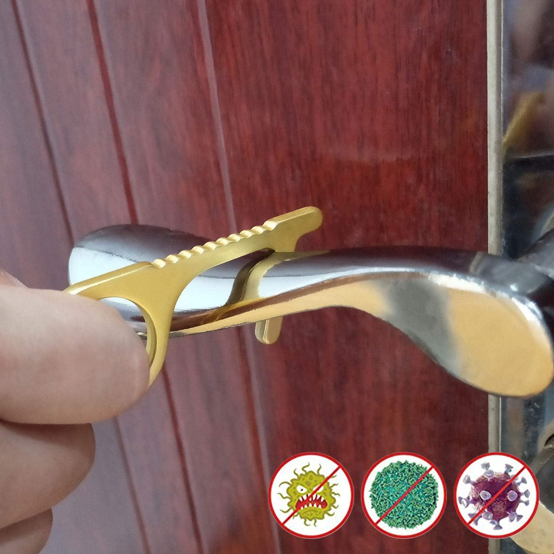 EDC abridor de puerta de lat/ón sin contacto irregular tres llaves de negro