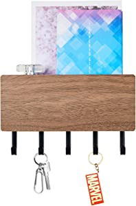 Key Holder for Wall Entryway Mail Holder for Wall Key Rack for Wall with 5 Key Hook Wall Key Holder Key Hanger for Wall Mail Organizer Wall Mount for Entryway, Mudroom, Hallway - Large Size
