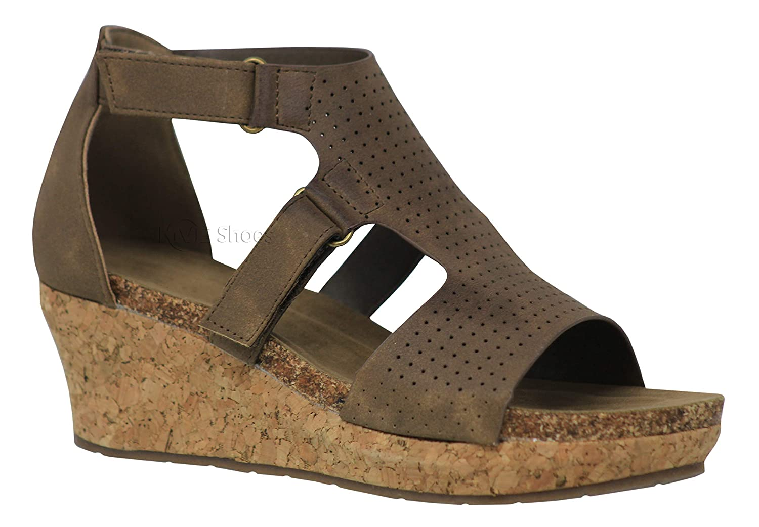 Taupe5c MVE shoes Women Cut Out Open Toe Wedges-Comfy Sandals