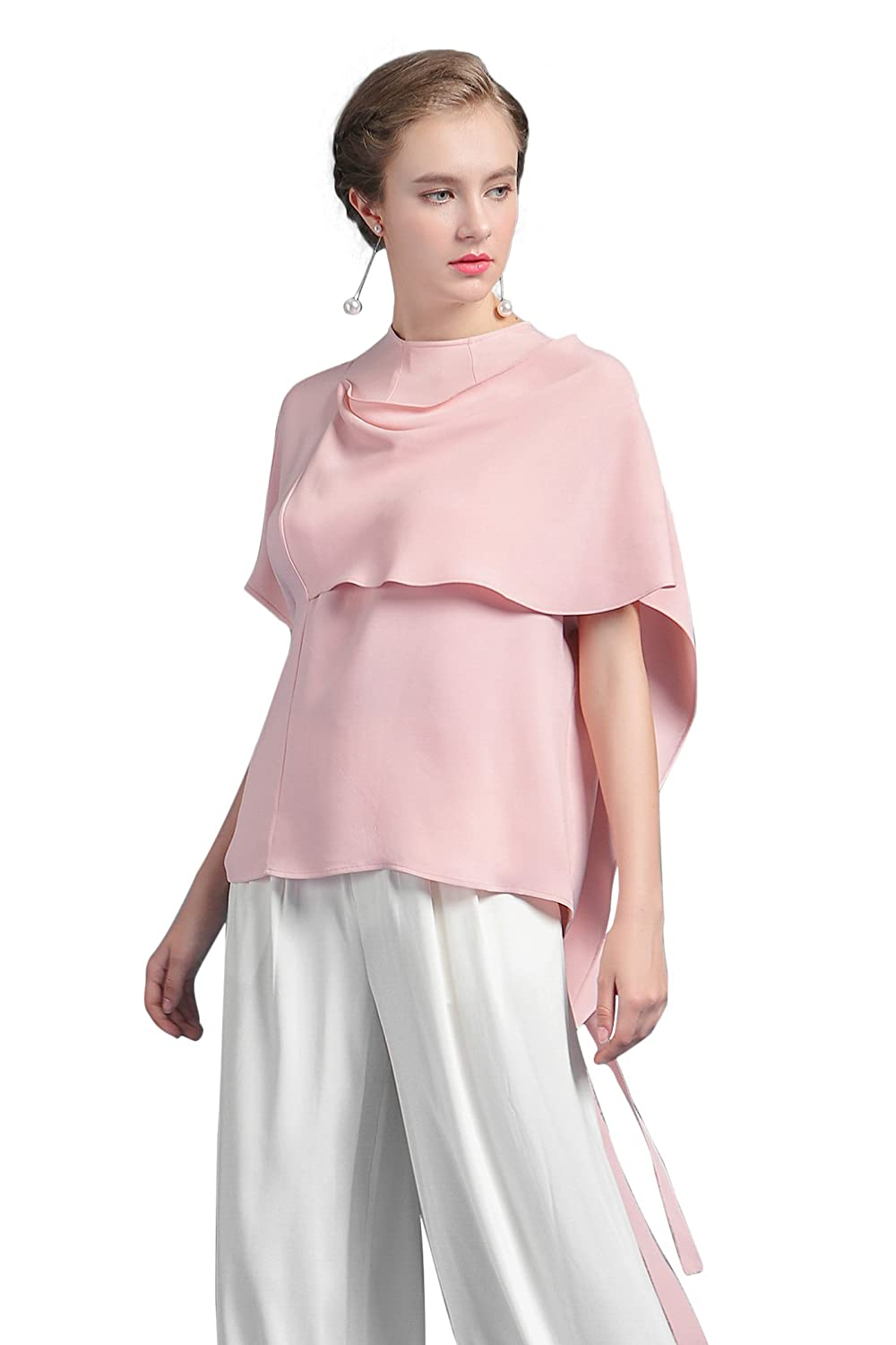5ca80788 VOA Women's Short Cape Sleeve Pink Silk Poncho Fashion Tshirt Pullover Top  BSH00201 at Amazon Women's Clothing store: