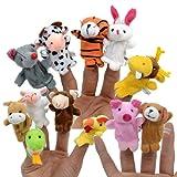 12 Stück Baby Fingerpuppen Set Tierfiguren Finger Tiere Plüschfigur für Kinder