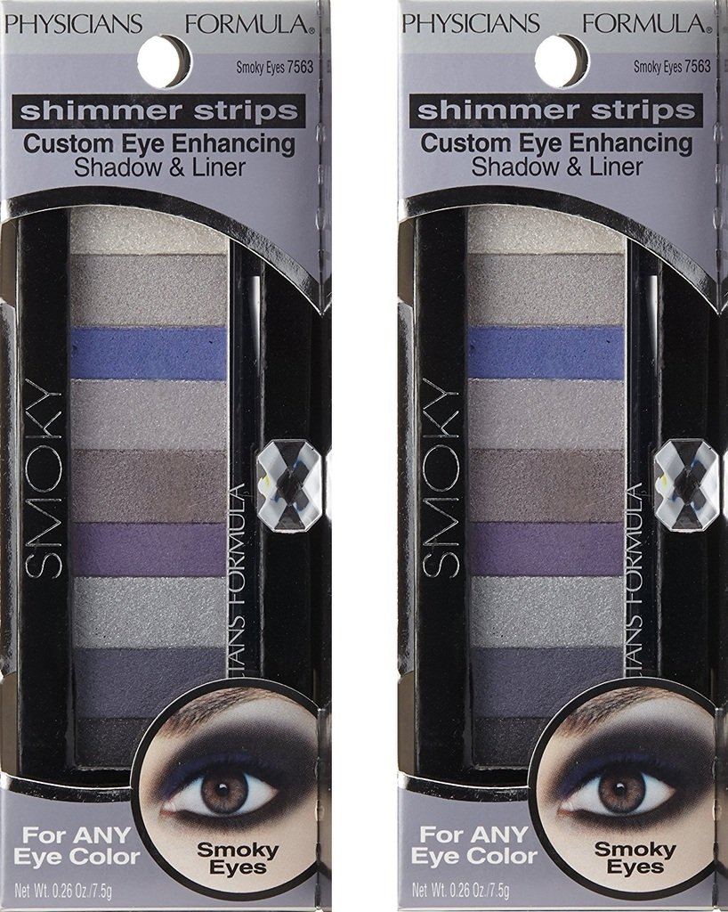 (2 Pack) Physicians Formula Shimmer Strips Custom Eye Enhancing Shadow & Liner, Universal Looks Collection, Smoky, 0.26 Ounce