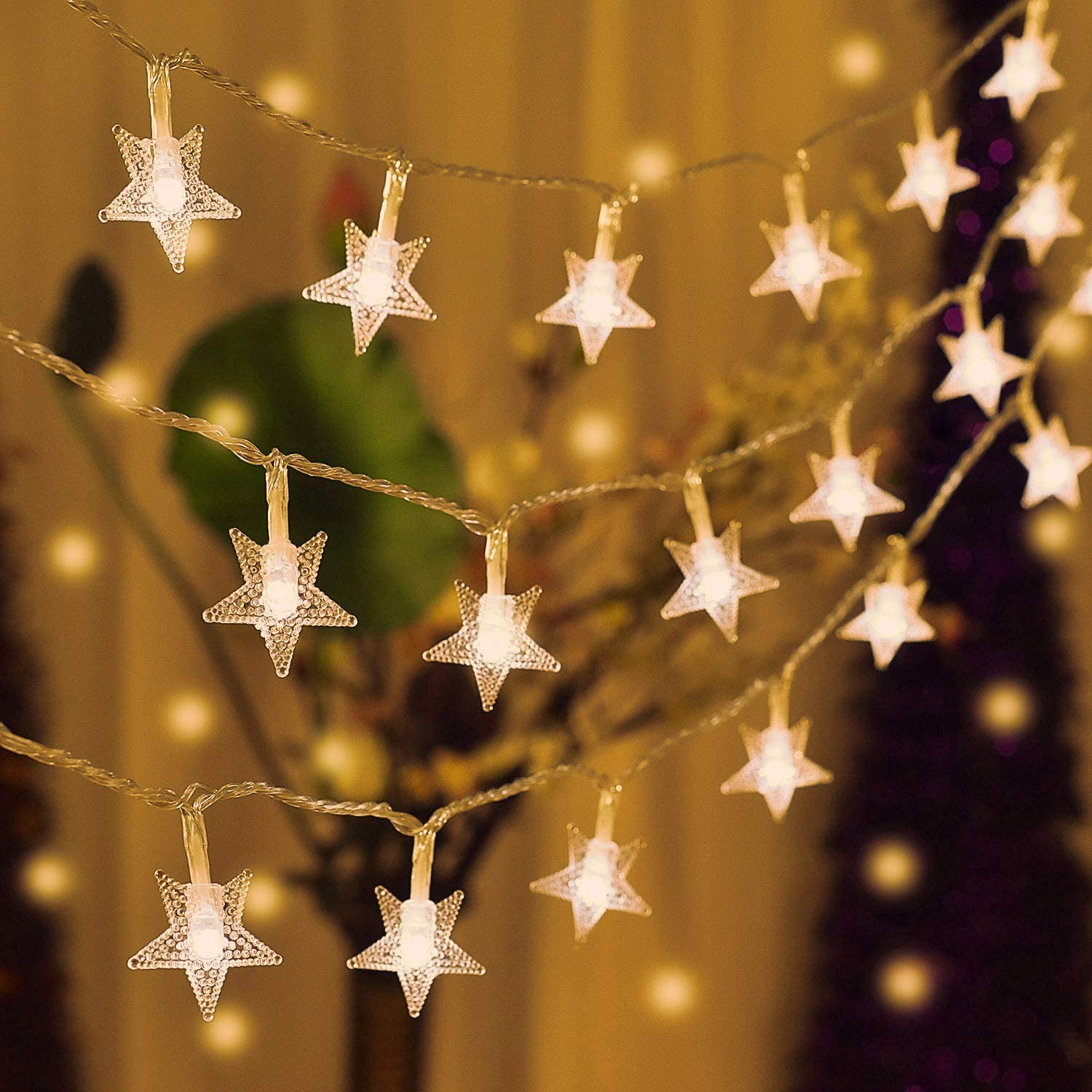 Ramadan Twinkle Star 100 LED 49 FT Star String Lights Garden Decoration Plug in Fairy String Lights Waterproof Blue Christmas Tree New Year Outdoor Wedding Party Extendable for Indoor