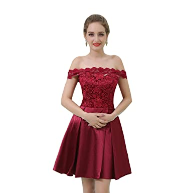 Loveinwedding Womens Burgundy Short Prom Dresses Off The Shoulder Lace Party Dress Formal Evening Gowns -