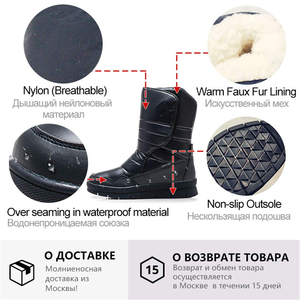 Hangshushiy Fashion Waterproof Warm Winter Boots for Men Female Snow Shoes Men