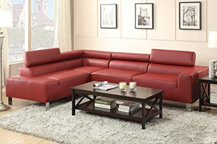 Swell Amazon Com Bonded Leather Burgundy 2 Pcs Sectional Sofa Creativecarmelina Interior Chair Design Creativecarmelinacom