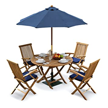 Tuscany Outdoor Dining Set with Teak Table, 4 Chairs and Cushions, Parasol  and Base