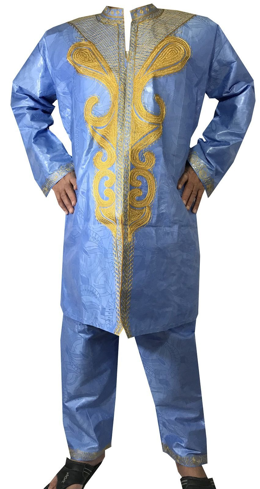 DecoraApparel African Men Pant Suit Brocade Embroidered 3PCs Suits Bright Colors