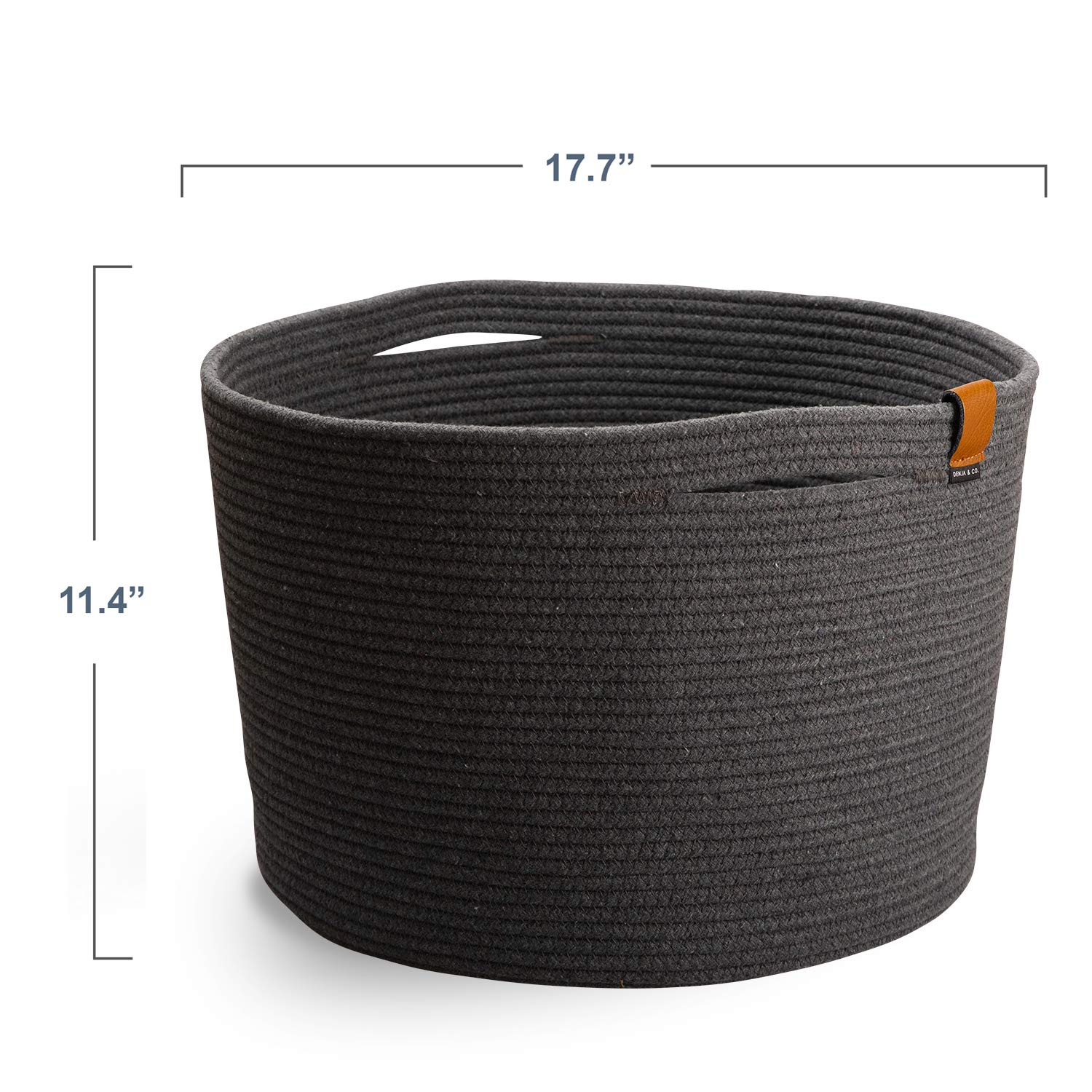Decorative Floor Basket for Shoes Toys Laundry or Blankets DENJA /& CO Large Cotton Rope Basket 17.7 Wide x 11.4 Tall Charcoal Gray | Woven Shoe Basket